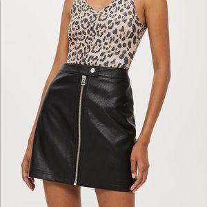 Black Topshop leather mini skirt
